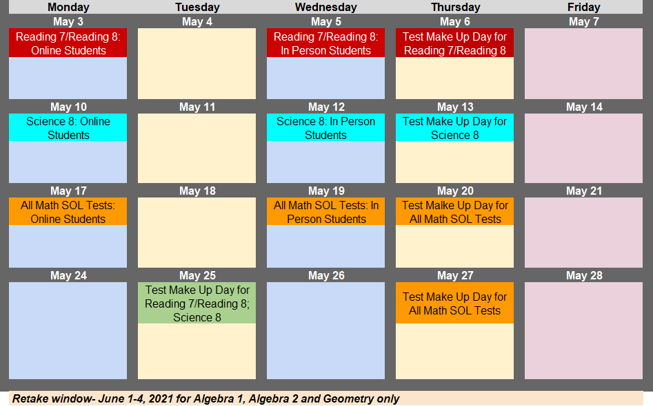screenshot of SOL calendar. dates on events page on rrms website if needed.