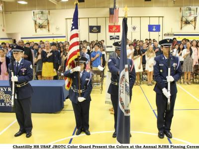 Chantilly HS USAF Junior ROTC Color Guard Presents the Colors at Pinning Ceremony