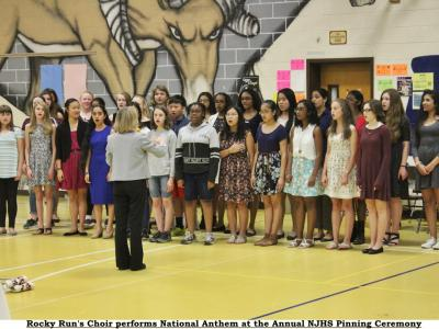 Rocky Run's Choir led by Ms. Christman sing the National Anthem