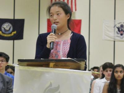 Rocky Run's NJHS President presents the guest speaker