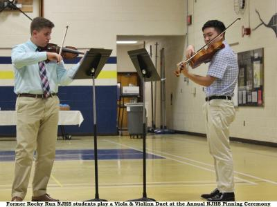 Music for Pinning Ceremony was provided by two former RR and NJHS members