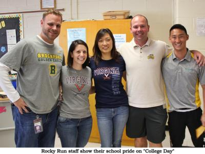 Rocky Run Staff take part in College Day by wearing their college shirts