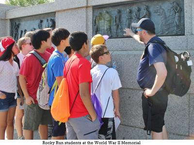 Rocky Run students at the World War II Memorial