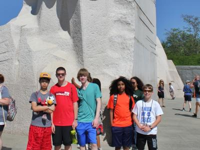 Rocky Run students at the Martin Luther King, Jr. Memorial
