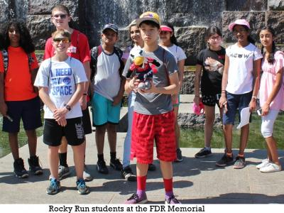 Rocky Run students at the FDR Memorial