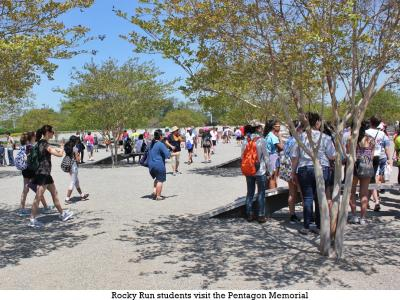 Rocky Run students at the Pentagon Memorial