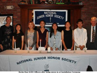 Rocky Run NJHS Officers at their Installation Ceremony