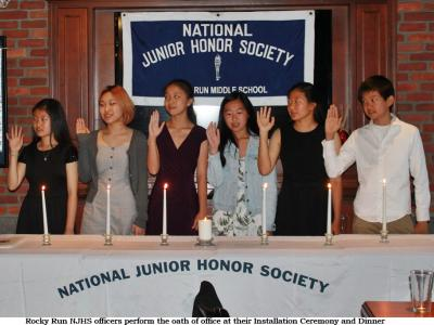 Rocky Run NJHS Officers take the oath of office