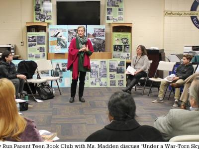 Author Laura Elliott speaks to parents and students at discussion of Under a War-Torn Sky