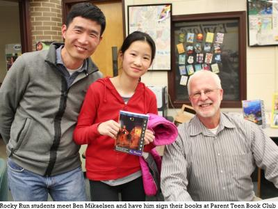 Author Ben Mikaelsen autographs books and meets students and parents at PTBC