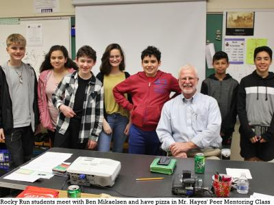 Author Ben Mikaelsen with Mr. Hayes' Peer Mentoring class
