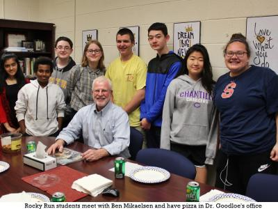 Author Ben Mikaelsen after having lunch and discussion with students in Principal's Office