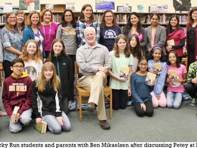 Author Ben Mikaelsen with a book group at PTBC