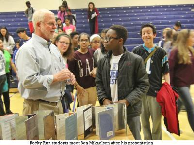 Author Ben Mikaelsen spoke to all Rocky Run students at three assemblies